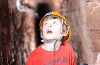 Boy mesmerised in the passages