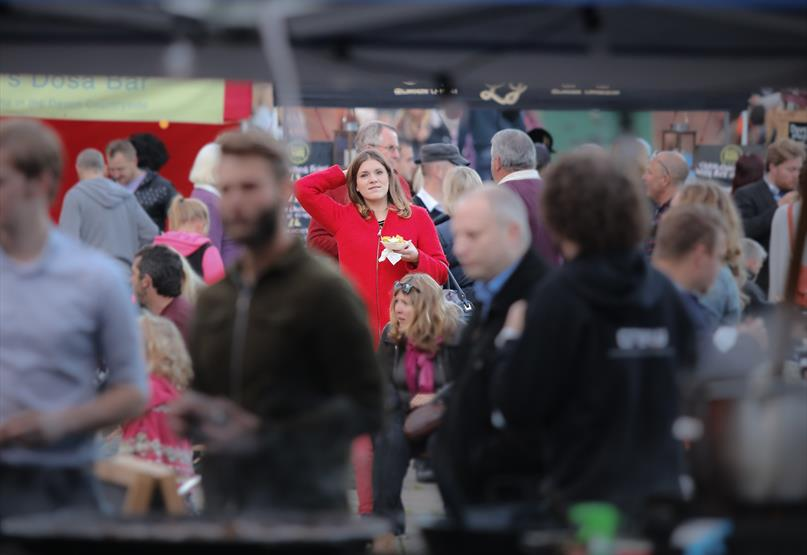 Stalls and visitors at Exeter Street Food Market Exeter Quay