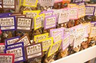 Roly's Fudge on a shelf