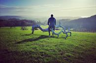 Devon Sculpture Park: Human and wood sculpture