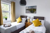 Two single beds at Isca House