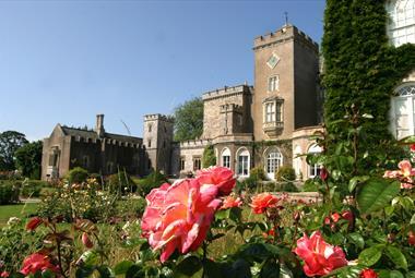 Powderham Castle gardens in summer