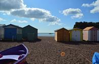Teignmouth River Beach with beach huts