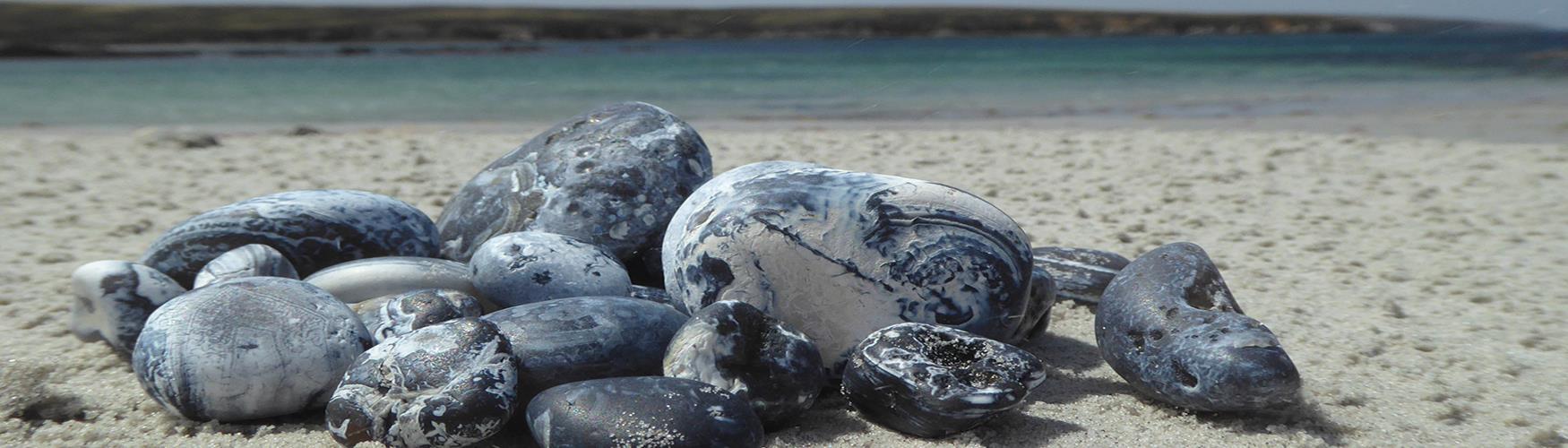 Falkland pebbles on a beach, Falkland Islands