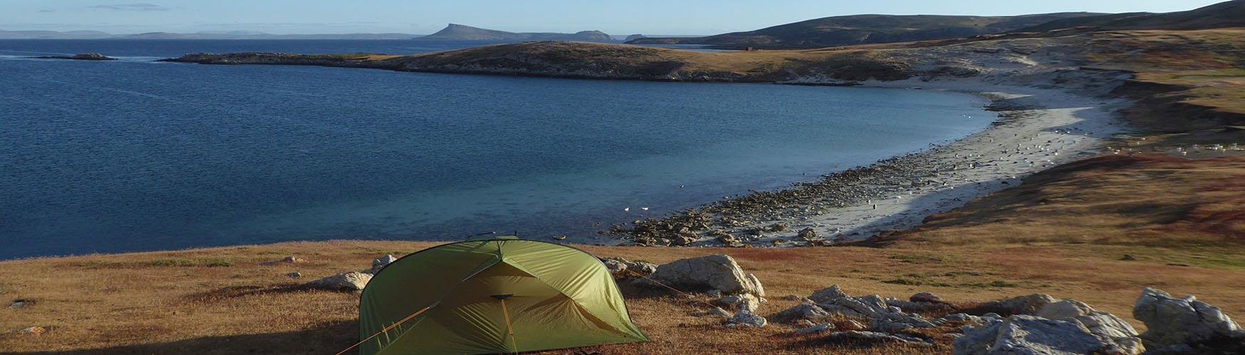 Camping in the Falkland Islands on a remote beach