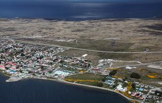 Aerial view of Stanley, the capital of the Falkland Islands