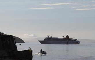 Disembarking on the Falkland Islands by zodiac