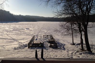 Ice fishing from the Selmer cabin