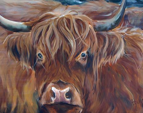 Painting highland cows in mix media
