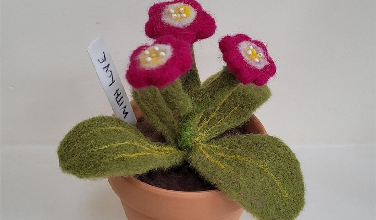 Needlefelted Auricula Workshop at Hare Hill Barn