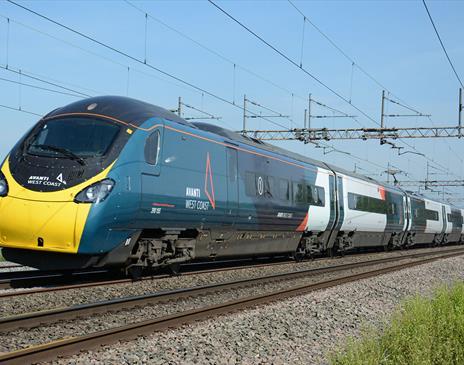 Avanti West Coast Pendolino train on the West Coast mainline in Cumbria