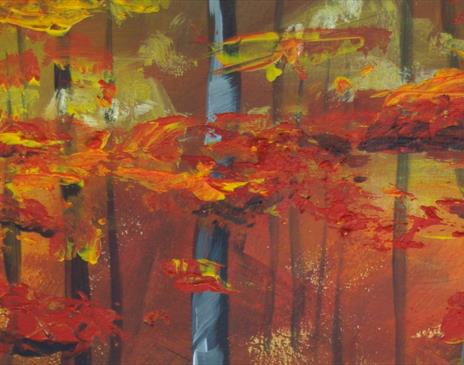 Painting autumn colours in acrylic