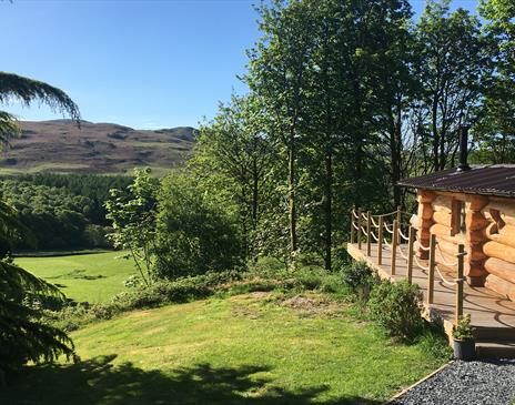Log cabin May 2020 with view to the fell