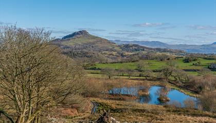 photo of Moel y Gest mountain and Eisteddfa Fishery from Ty Mawr