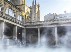 Steam rising from the Roman Baths