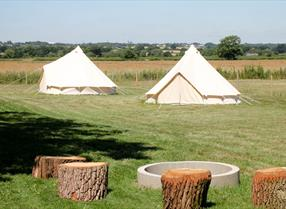 Bell tents in the countryside