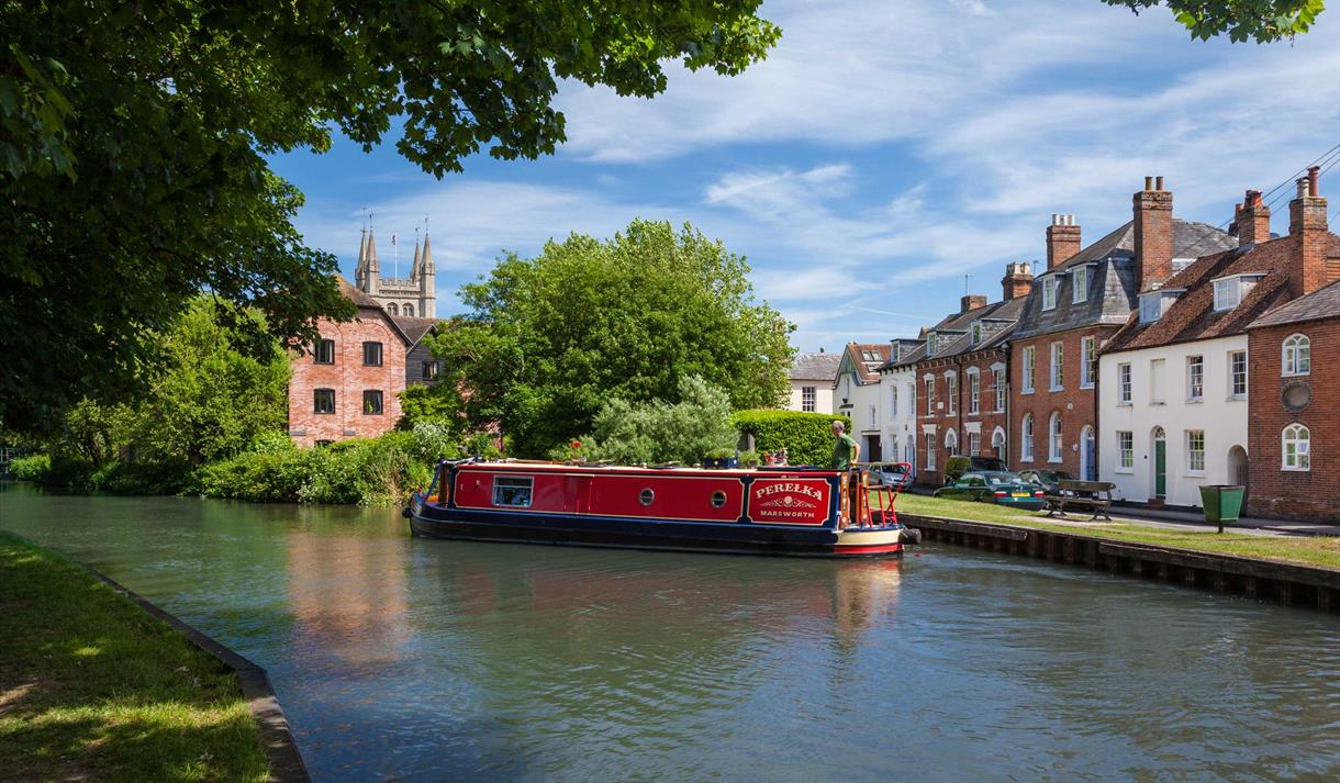 Canal boat in Newbury