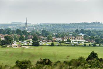Salisbury Camping and Caravanning Club Site overlooking Salisbury Cathedral
