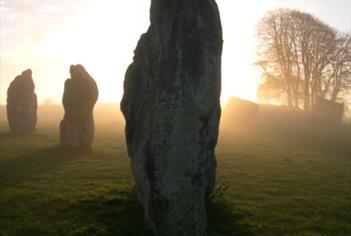 Avebury Stone Circle at Dusk, Misty Setting
