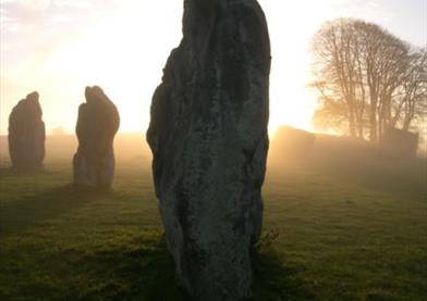 Avebury Stone Circle at Dusk, Misty Setting
