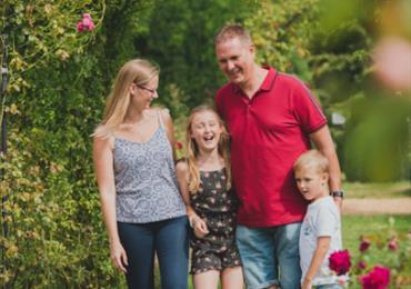 Family Walking in the Beaulieu Gardens