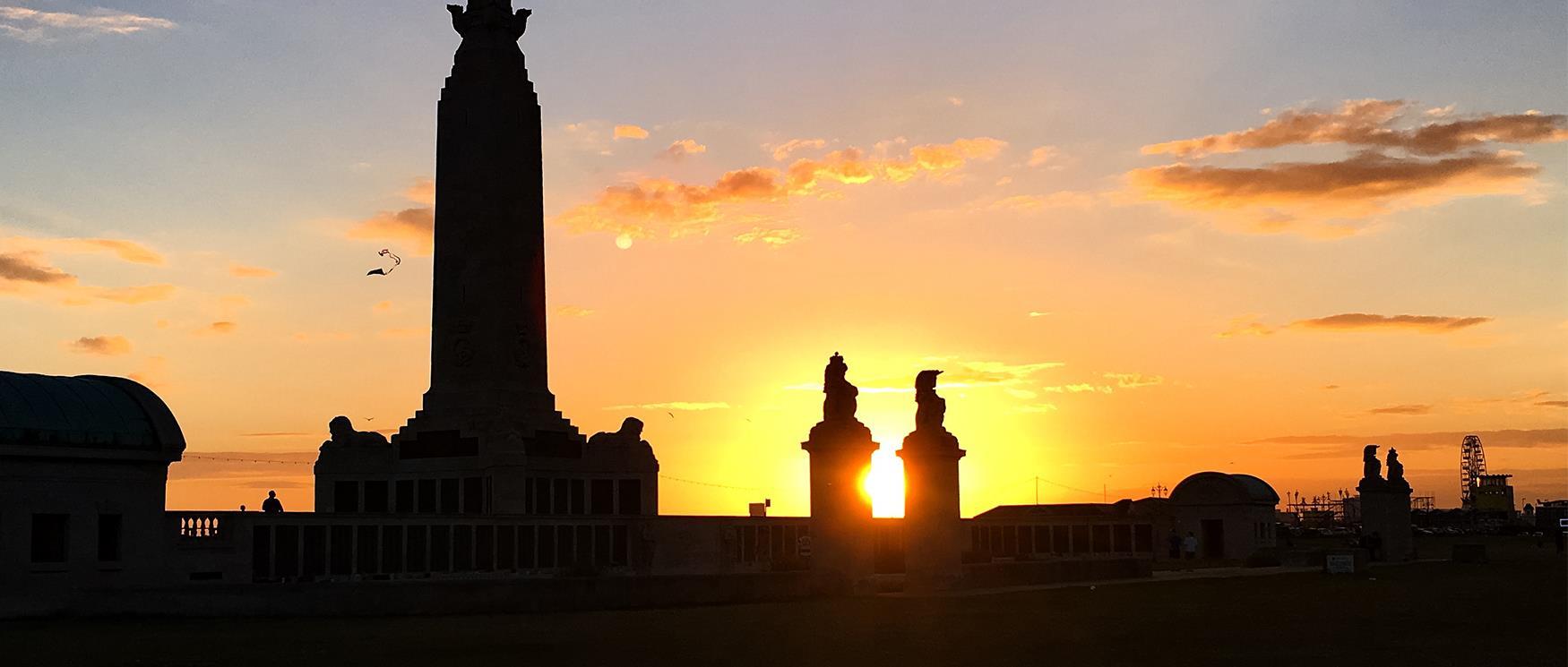 Sunset at Southsea War Memorial