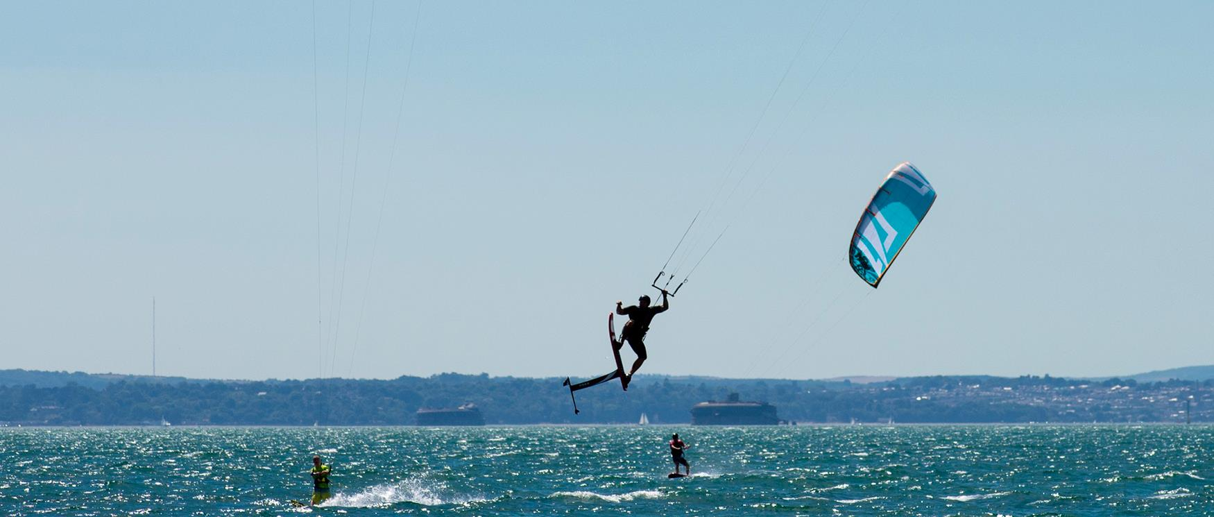 Hayling Island Beach and Kite Surfer