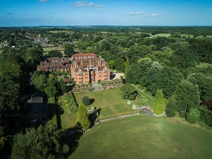 Aerial perspective of New Place Hotel in Hampshire