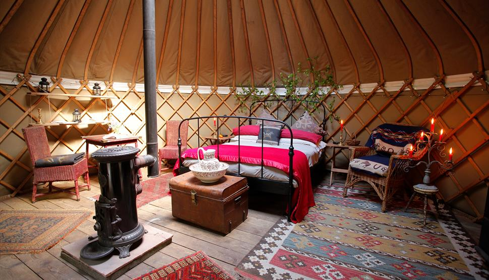 Interior of yurt at Adhurst Yurts