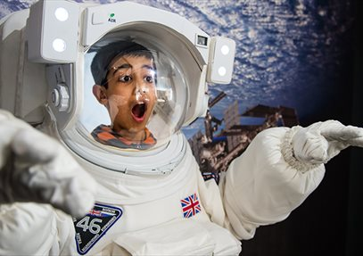 Boy in Space Suit at Winchester Science Centre and Planetarium