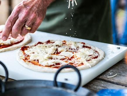 Pizza and Bread Cooked Over Fire at Season Cookery School, Lainston House