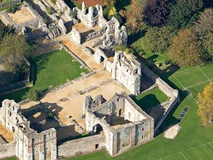 Aerial of Wolvesey Castle in Winchester, Hampshire