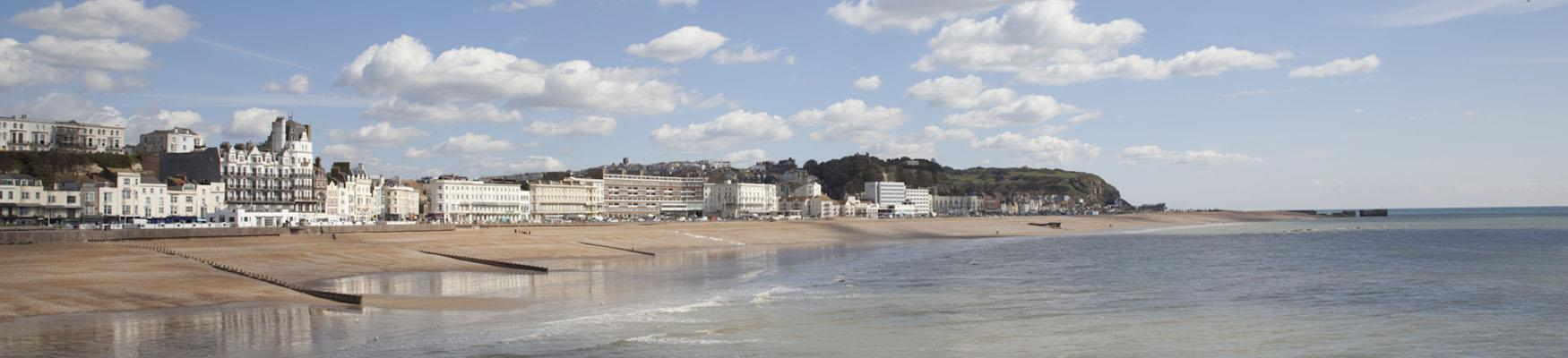 view of Hastings seafront from the pier and east hill
