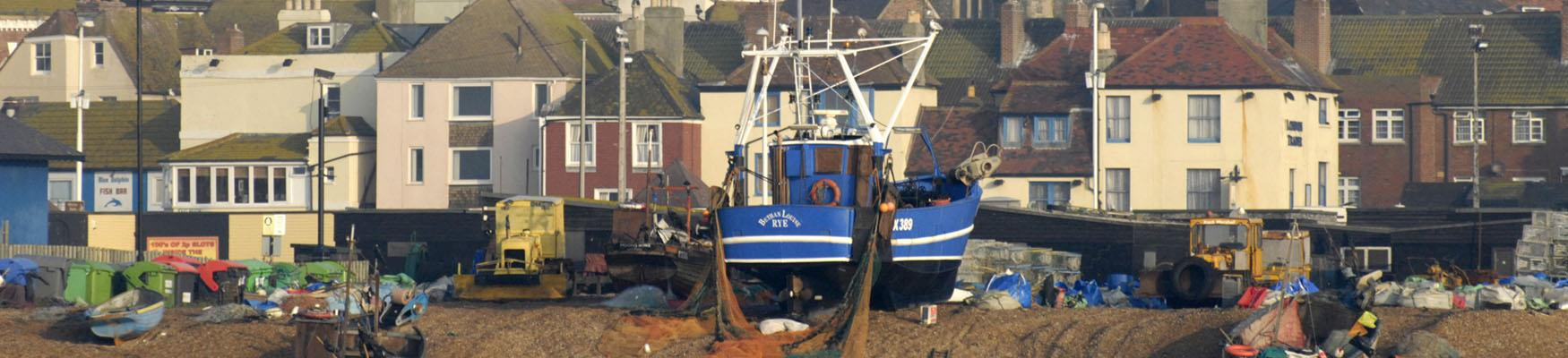 Hastings Stade and fishing boats