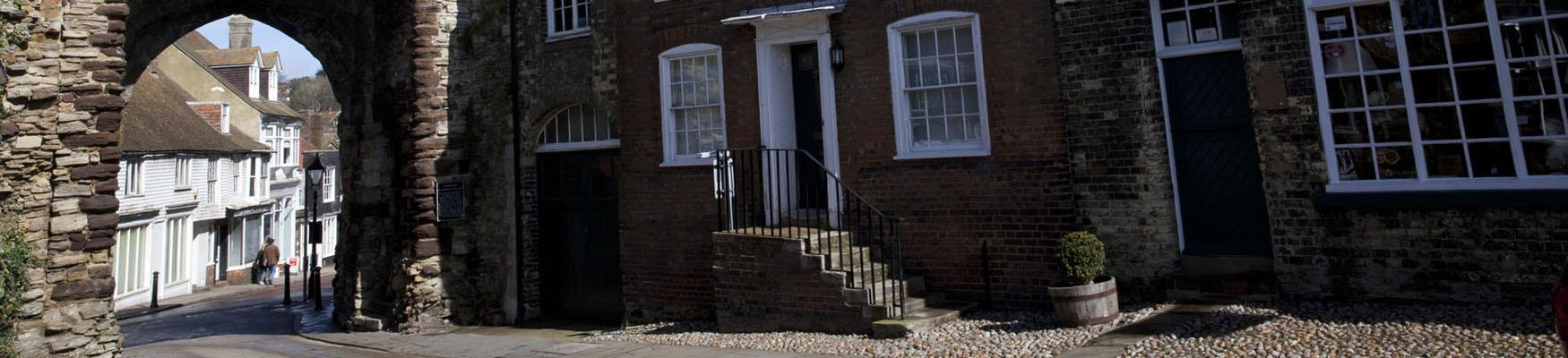 Rye buildings and arch on cobbled street
