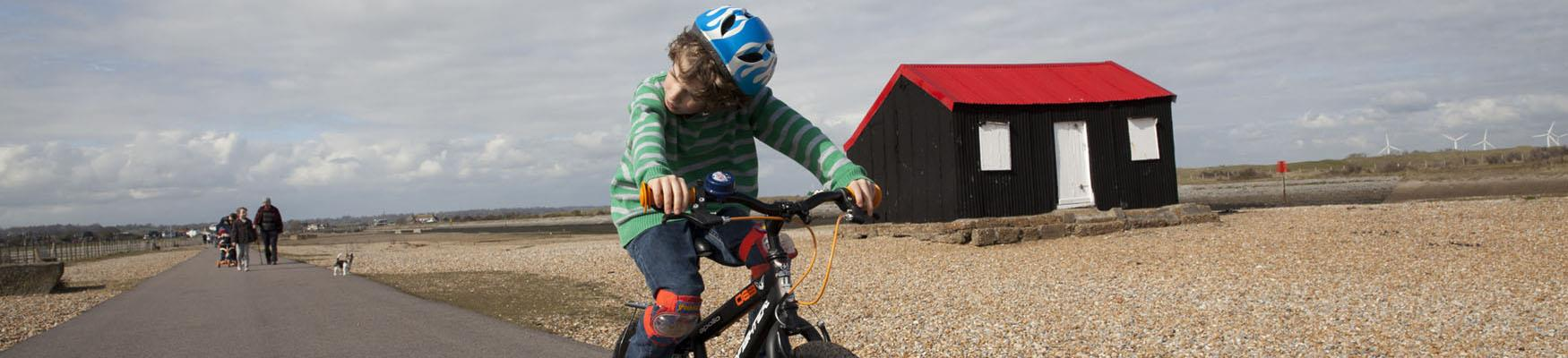 Children cycling at Rye Harbour