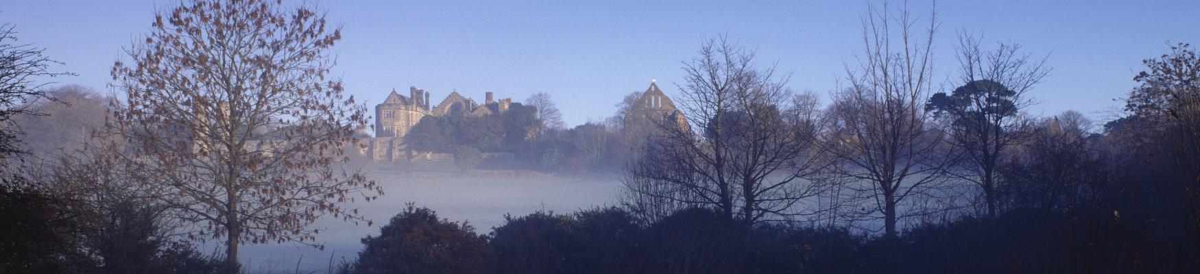 Battle Abbey in the early morning mist