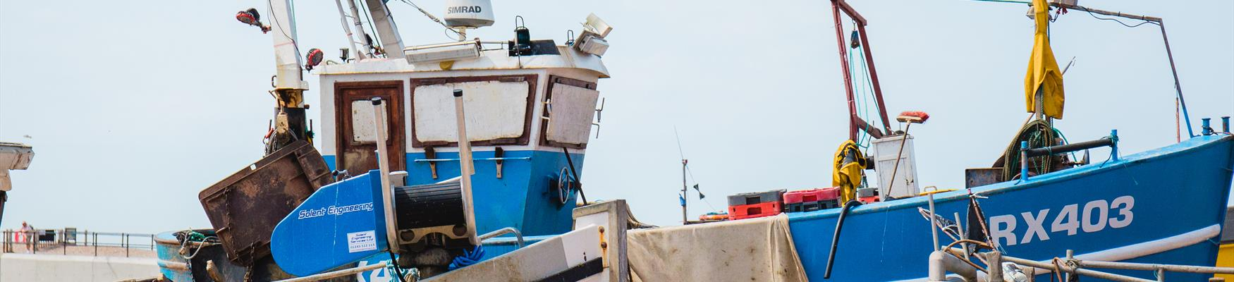 Fishing boats on Hastings beach, East Sussex