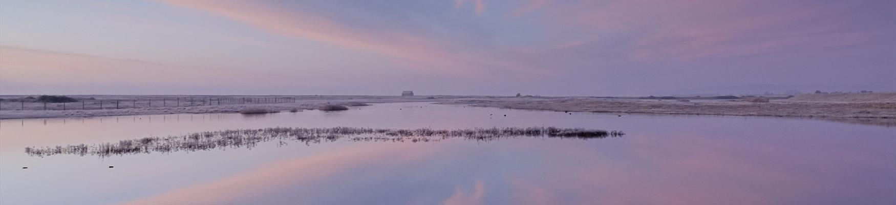 Winter sunrise at Rye Harbour Nature Reserve, East Sussex