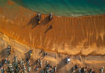 an aerial view of the stade fishing beach hastings
