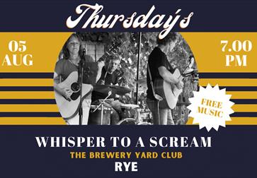 A blue and yellow poster for Live Music Thursdays at the Brewery Yard Club, Rye, East Sussex. In the centre is a black and white circular photograph w