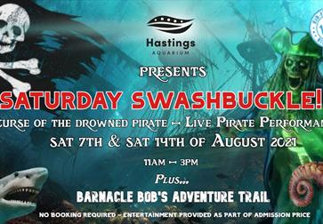 poster for Hastings Aquarium Saturday Swashbuckle, pirate event. Blue underwater poster with skeleton pirate.