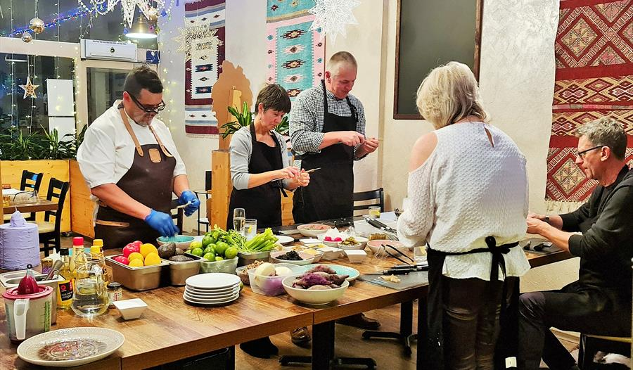 Cookery class at Sombremesa, Bexhill, East Sussex