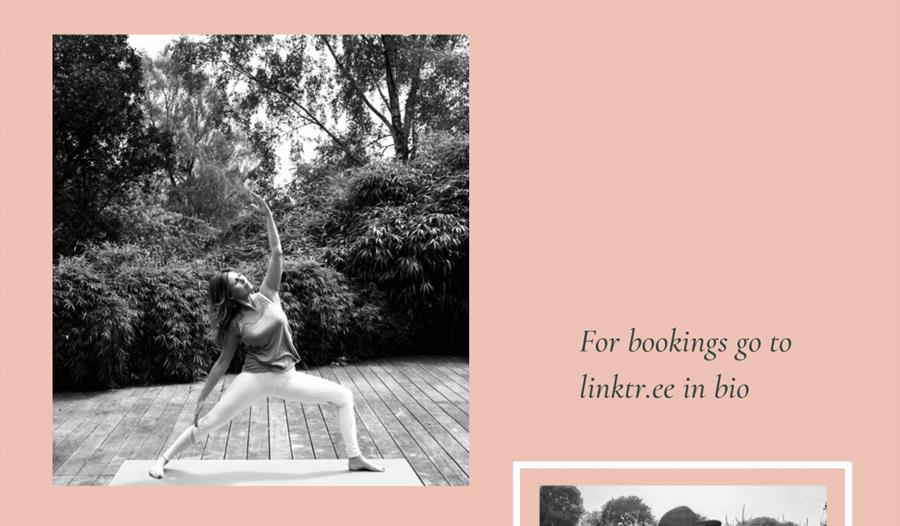 a poster for a wellness day at tillingham wine estate. Dusky peach background with 2 square photographs. one of a lady in a yoga pose, the other a lad