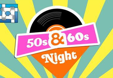 bright coloured posters for 50s and 60s night. yellow and green stripey background. centres shows a vinyl record and 50s 60s night against pink and or