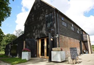 Cellar door at Oxney Organic Vineyard in Beckley, near Rye, East Sussex