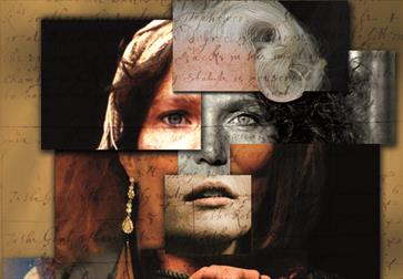 a collage making a photograph of a white woman's face with blonde hair.