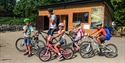 Family with bicycles at Bewl Water in East Sussex