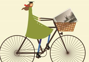 an illustration of a woman in a large triangular green coat on a bicycle. Cream background.