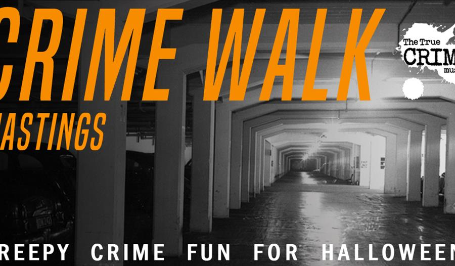 a black and white photograph of an underground car park with with orange text over the top saying Crime Walk.